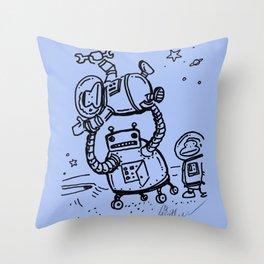 Blue Berserk Robot Ape Throw Pillow