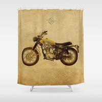 ducati Shower Curtains featuring Ducati Scrambler 350 1970 by Larsson Stevensem