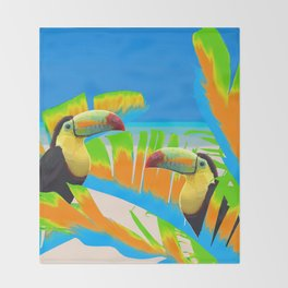 Colorful Toucans Tropical Banana Leaves Pattern Throw Blanket