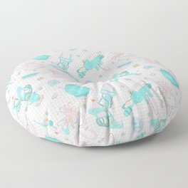 Pastel Scifi Alien Repeating Pattern Floor Pillow