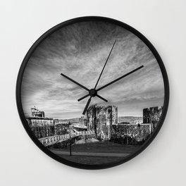 Caerphilly Castle Panorama Monochrome Wall Clock