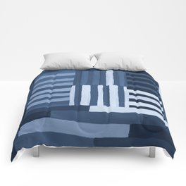 Painted Color Block Grid in Blue Comforters
