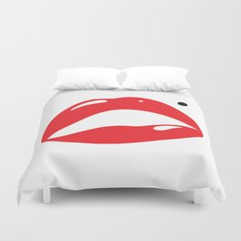 Sexy Lipstick Lips Kissing With A Beauty Spot Duvet Cover
