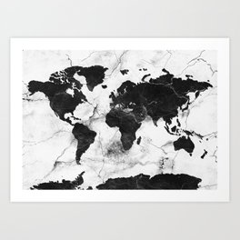 world map marble 3 Art Print