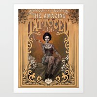 facebook Art Prints featuring The Amazing Tattooed Lady by Rudy Faber