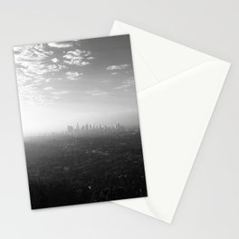 Los Angeles. L.A. Skyline. Black and White. Jodilynpaintings. Sunrise. Sunset. Cityscape. California Stationery Cards