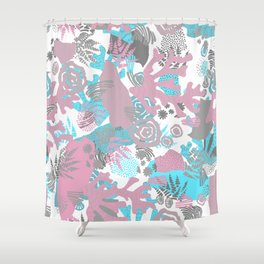 Artistic nautical teal pink gray coral floral pattern Shower Curtain