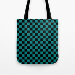 Black and Teal Green Checkerboard Tote Bag