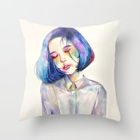 meditation Throw Pillows featuring Meditation by Kazel