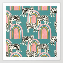 Tigers and rainbows Art Print