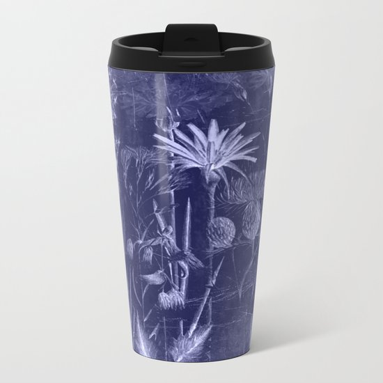 floral cyanotype Metal Travel Mug