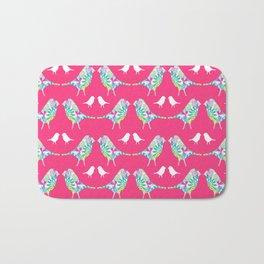Pink Bird Print Bath Mat
