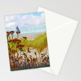 Plaid Beachscape with Dragonflies Stationery Cards