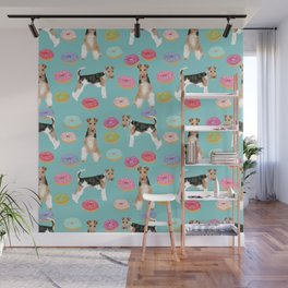 Wire Fox Terrier donuts dog pattern dog lover gifts for dog person dog breeds pet friendly Wall Mural