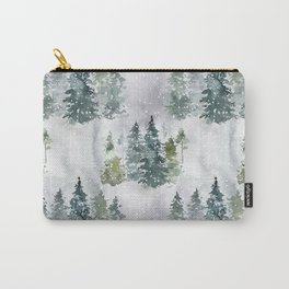 Artistic hand painted green white watercolor trees polka dots Carry-All Pouch