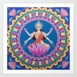 Goddess Lakshmi Lotus Mandala Art Print