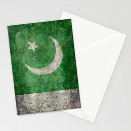 Pakistani flag, vintage retro style Stationery Cards
