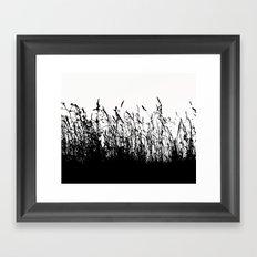 grass bw Framed Art Print