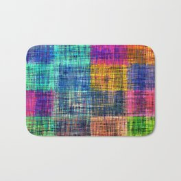 vintage square plaid pattern painting abstract in blue green brown pink Bath Mat