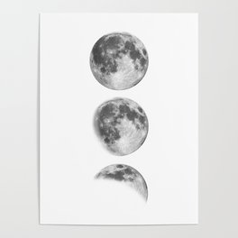 Full Moon cycle black-white photography print new lunar eclipse poster bedroom home wall decor Poster