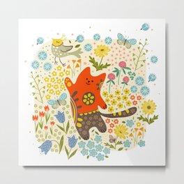 Cat and a bird. Metal Print