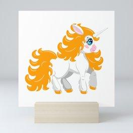 Unicorn pony. Cute cartoon style Mini Art Print