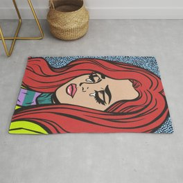 Sad Red Head Comic Girl Rug