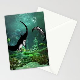 Wonderful manta rays in the deep ocean Stationery Cards