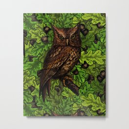 Owls in the oak tree, green and brown Metal Print