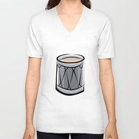 drum V-neck T-shirts featuring Drum by shopaholic chick