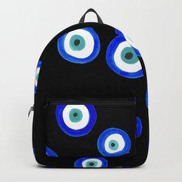Scattered Evil Eyes on Black Backpack