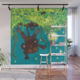 swinging little monkey Wall Mural
