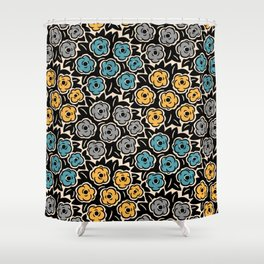 Mid Century Modern Flower Bouquet Pattern 945 Shower Curtain