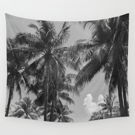 Palm Trees Black and White Photography Wall Tapestry