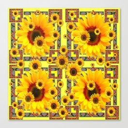 KANSAS WESTERN STYLE YELLOW SUNFLOWER FLORAL Canvas Print