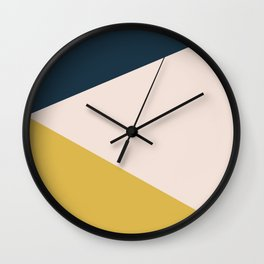 Jag. Minimalist Geometric Color Block in Navy Blue, Mustard Yellow, and Pale Blush Pink Wall Clock