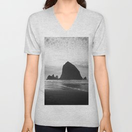 Haystack Rock in Black and White - Cannon Beach, Oregon Film Photo Unisex V-Neck