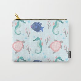 Cute Seahorse, Turtle & Fish Pattern Carry-All Pouch