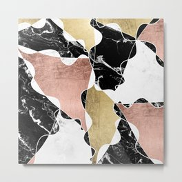 Modern white black marble rose gold foil color block handdrawn geometric lines Metal Print
