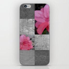 Gray Burlap and Damask with Pink Azaleas - Modern Farmhouse iPhone Skin