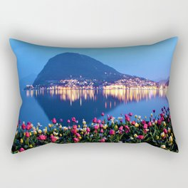 Tulips - Lake Lugano, Switzerland Landscape Photograph Rectangular Pillow