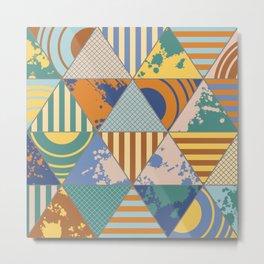 Multi Patterned Geometric Triangles Metal Print
