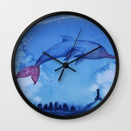 Fantasy Dauphin, The Castle And The Paper Boat Wall Clock