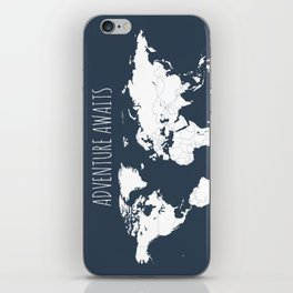 Adventure Awaits World Map in Navy Blue iPhone Skin