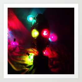 Gas Mask with Colorful Lights Art Print