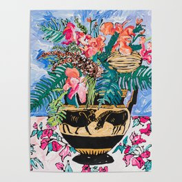 Tropical Banksia Bouquet after Matisse in Greek Boar Urn on Pale Painterly Blue Poster