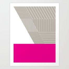 Minimal Triangles Magenta Art Print