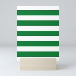 La Salle green - solid color - white stripes pattern Mini Art Print