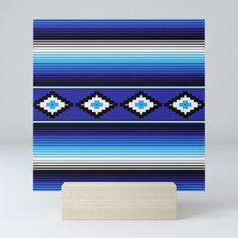 Modern Mexican Serape in Blue Mini Art Print