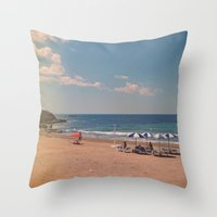 spanish Throw Pillows featuring Spanish Sunbathers by ZBOY